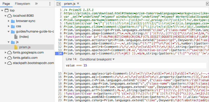 Screenshot of setting conditional breakpoint in Chrome