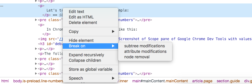Screenshot of setting   a DOM breakpoint in Chrome